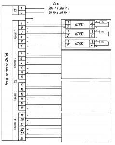 Приложение 4. Схема электрическая подключения датчиков с блоком питания 4БП36