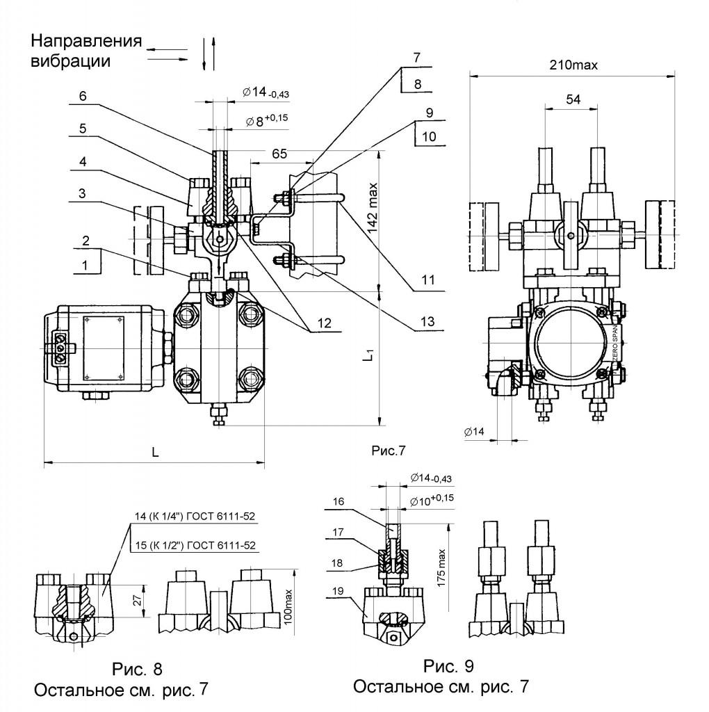Приложение 4,2. Габаритные, установочные и присоединительные размеры датчика разности давлений САПФИР-22МТ
