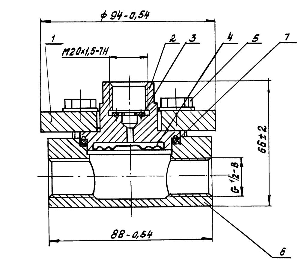 Приложение 5. Разделитель мембранный РМ модели 5494 габаритные и присоединительные размеры