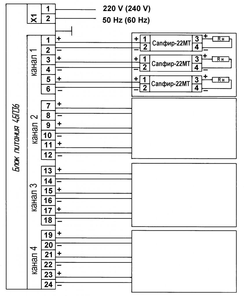 Приложение 7. Схема соединений датчика САПФИР-22МТ