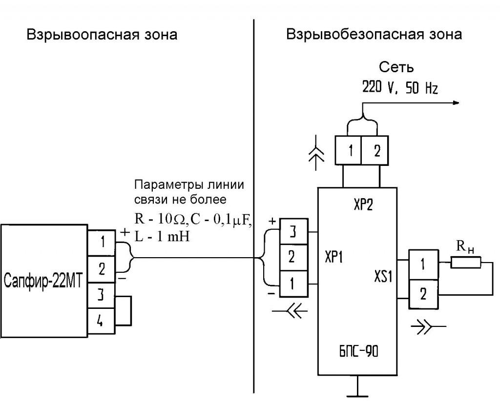 Приложение 9. Схема электрическая подключения датчика САПФИР-22МТ