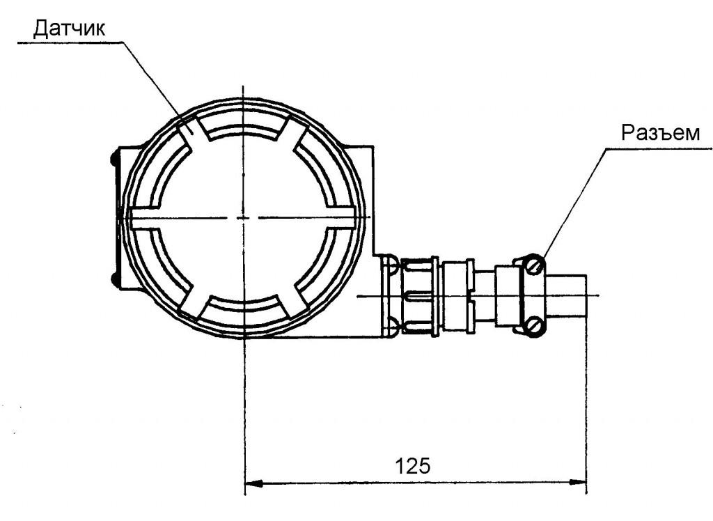 Рис.7 - для датчиков с разъемом и для ОАЭ (вид сверху)