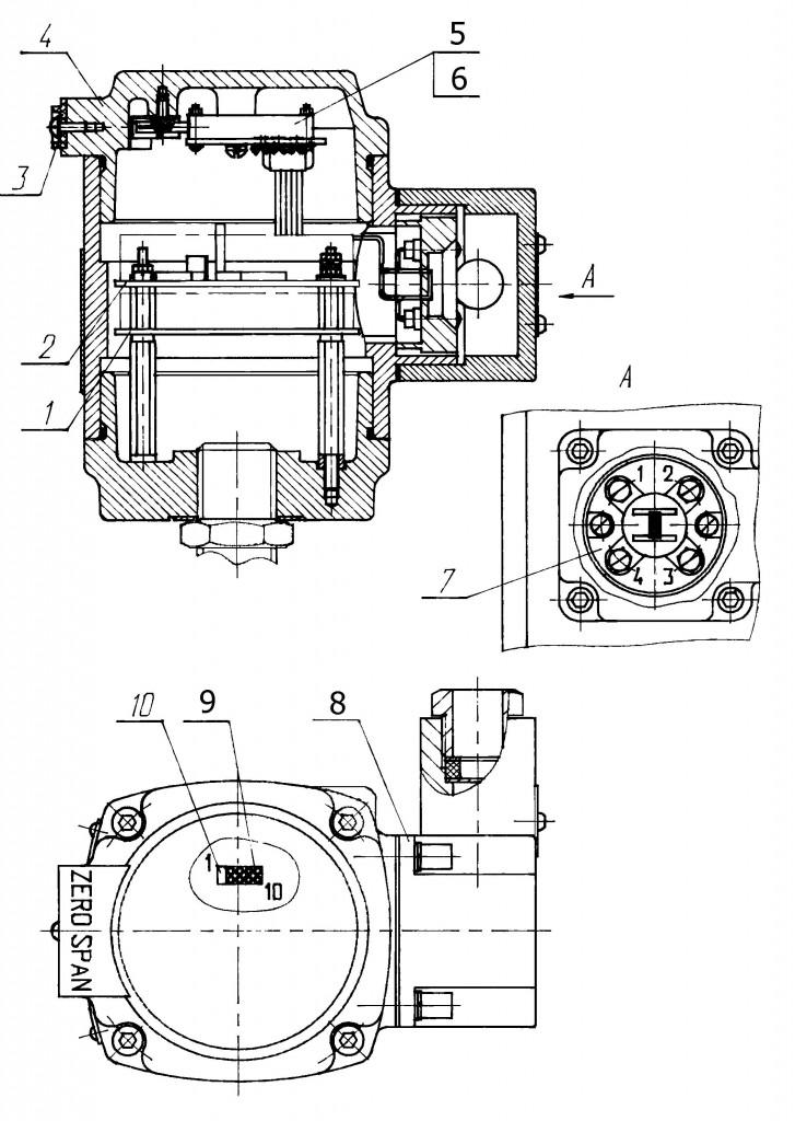 Схема датчика САПФИР-22МТ (кроме мод. 2450, 2460)2