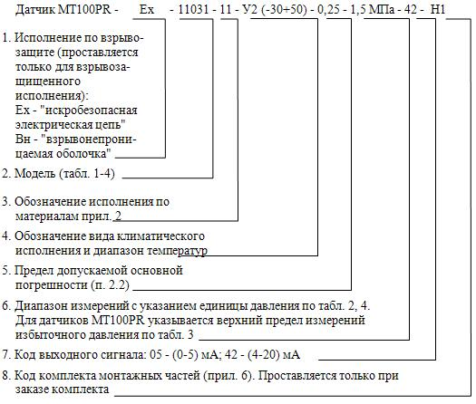 Схема составления условного обозначения датчиков мт100