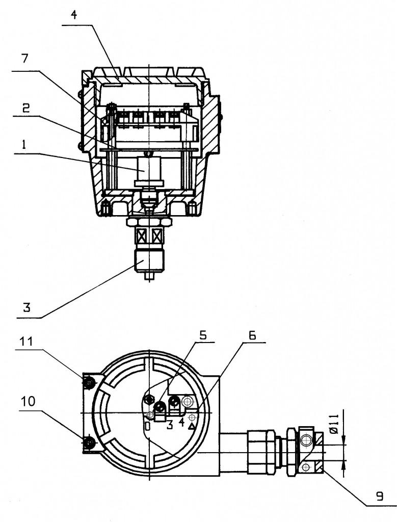 для датчиков моделей 11228-11239 (с видом взрывозащиты «взрывонепроницаемая оболочка»)