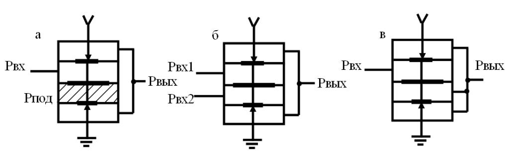 Схемы включения двухвходового пневматического элемента